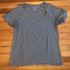 Olive green striped v neck t